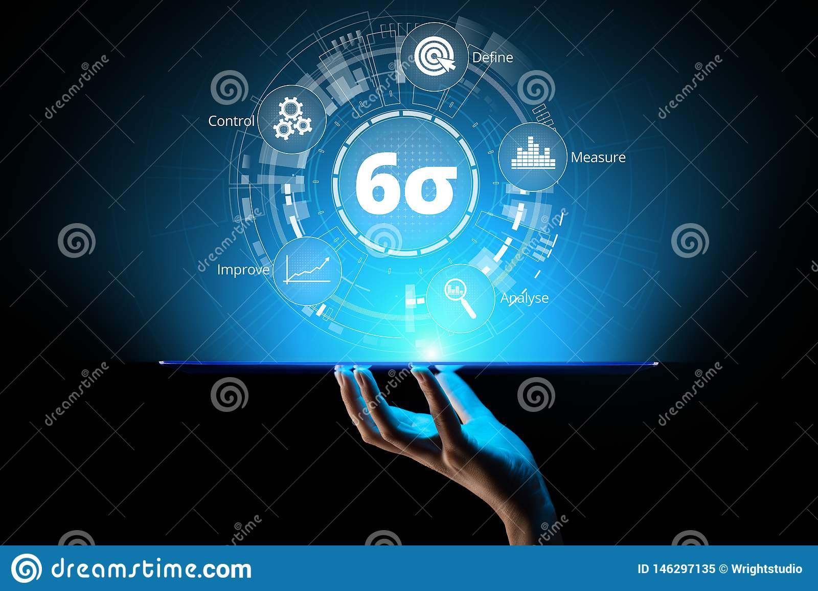 Six sigma DMAIC Industrial innovation technology quality control business concept.