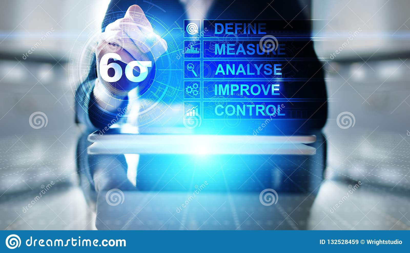 Six Sigma, Lean manufacturing, quality control and industrial process improving concept.