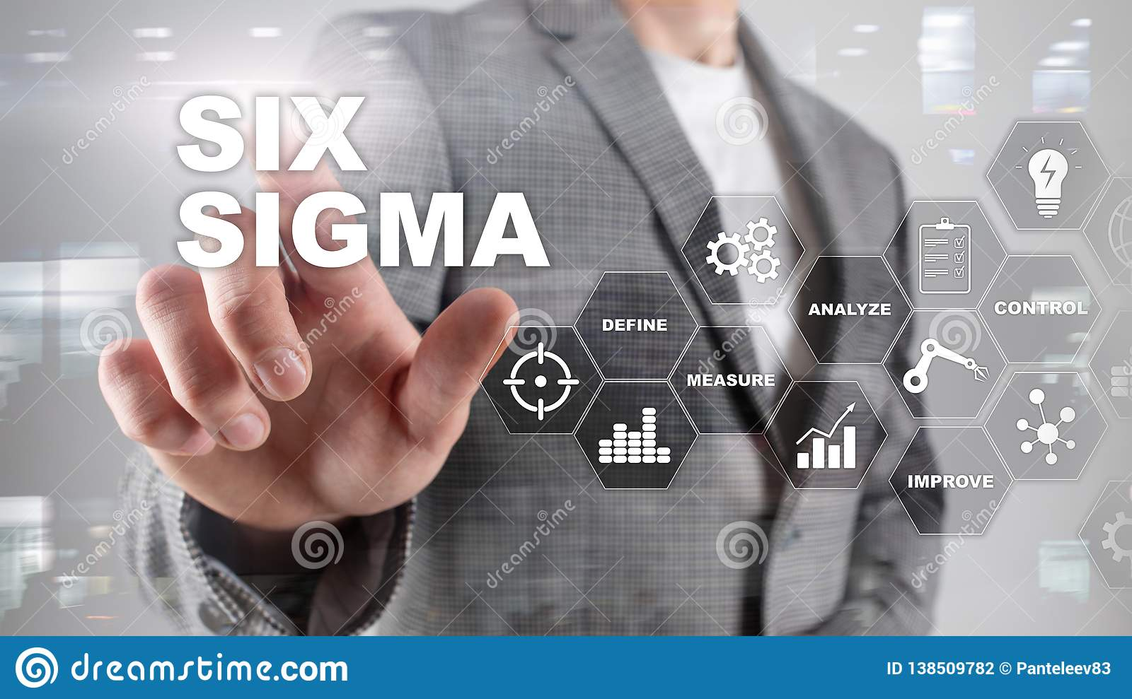 Six Sigma, manufacturing, quality control and industrial process improving concept. Business, internet and tehcnology.
