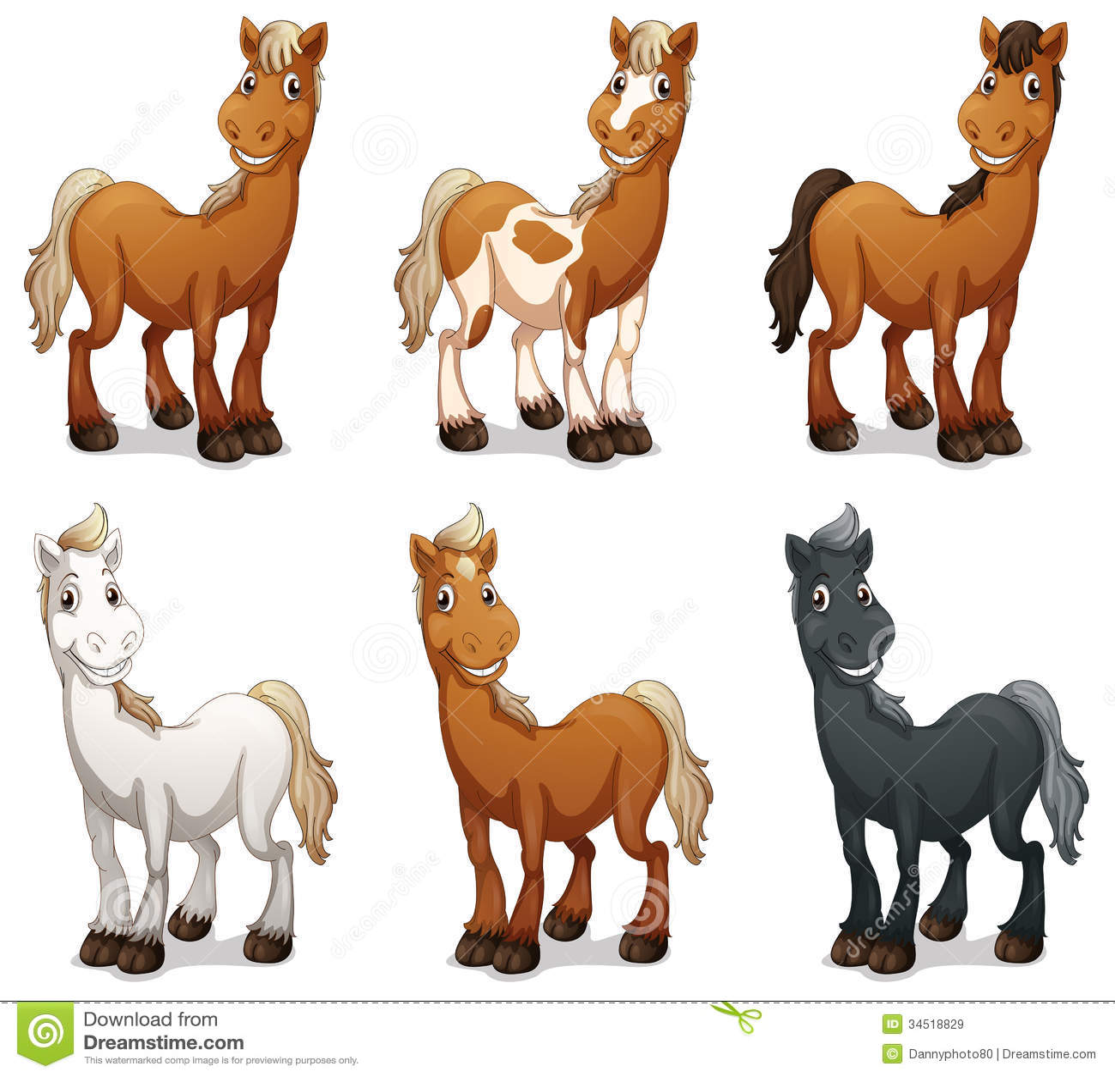 Six Smiling Horses Stock Illustration Image Of Graphic