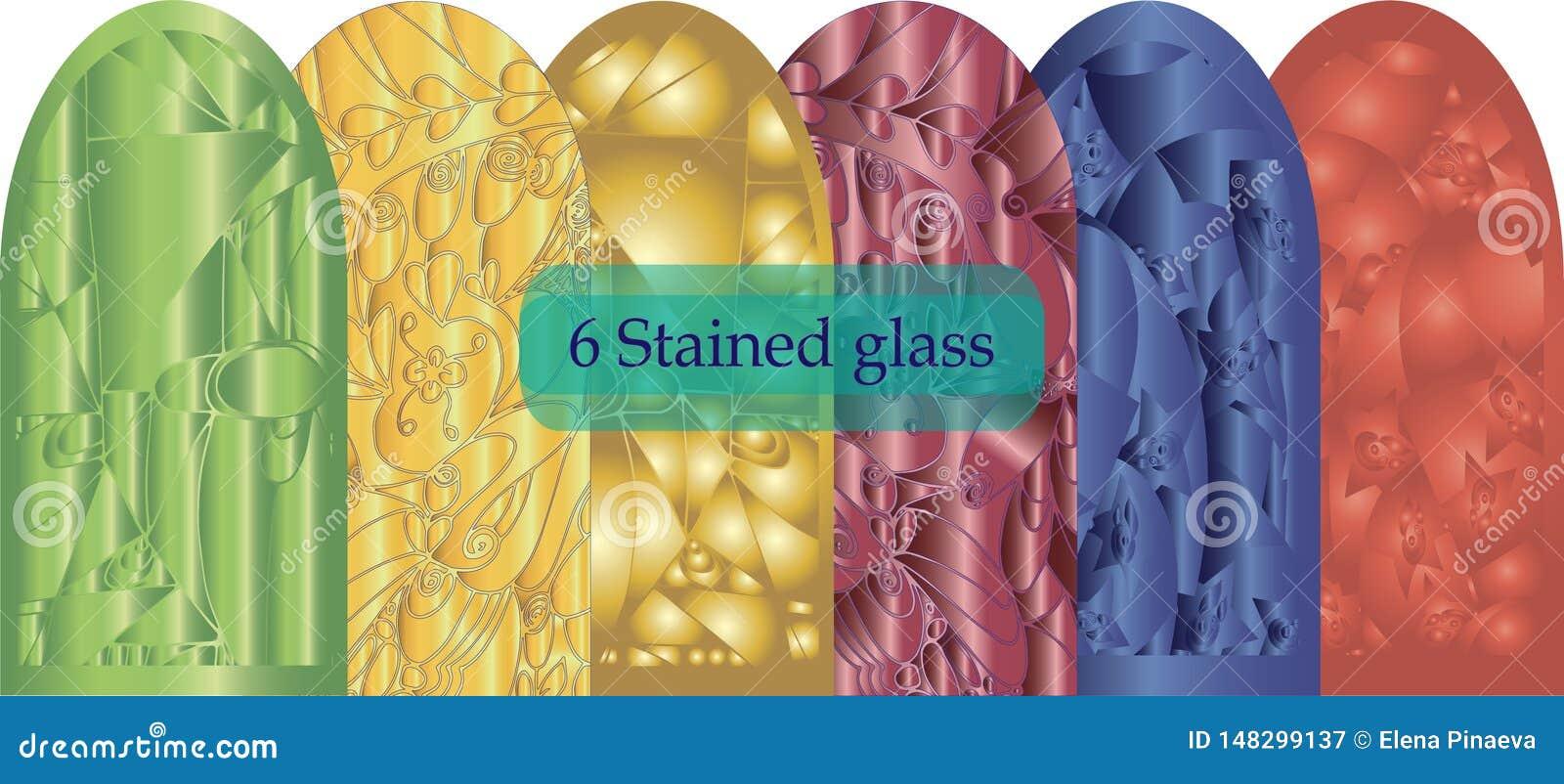 Six a souillé le résumé en verre tridimensionnel sur un fond blanc