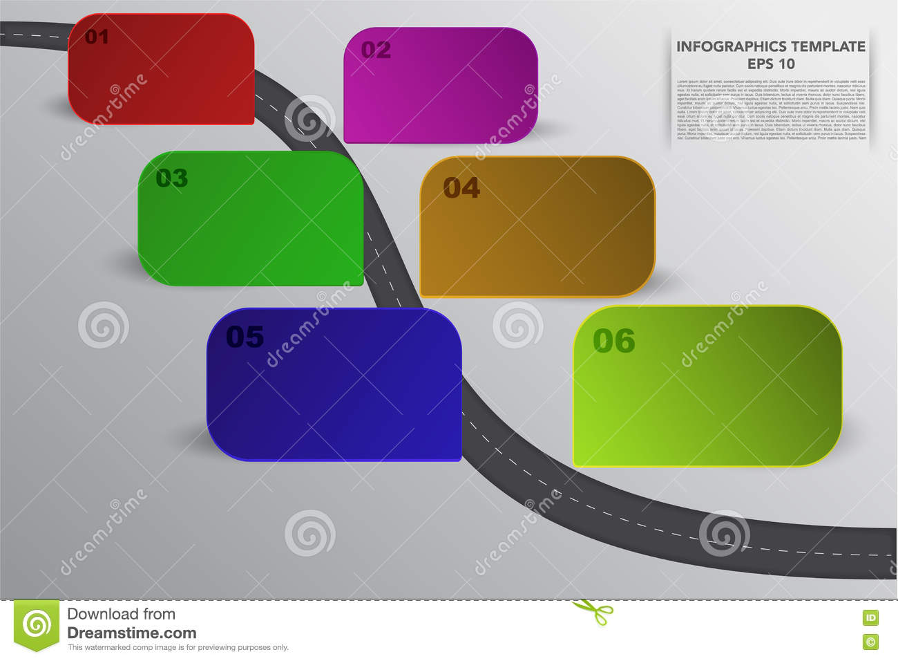 six steps timeline infographics with 3d rectangle objects in vari