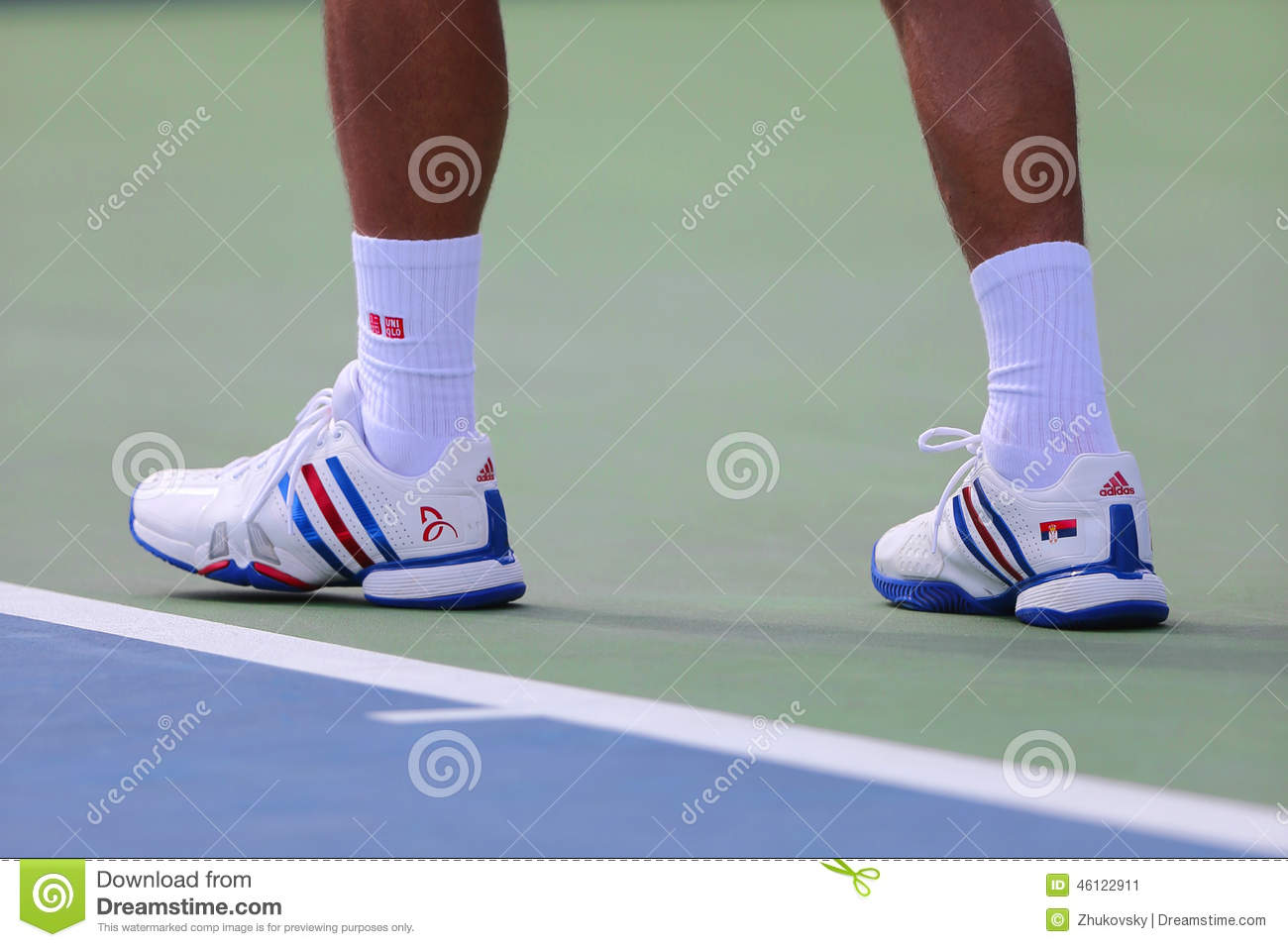 Six Times Grand Slam Champion Novak Djokovic Wears Custom Adidas Tennis Shoes During Match At Us Open 2014 Editorial Photo Image Of Ball King 46122911