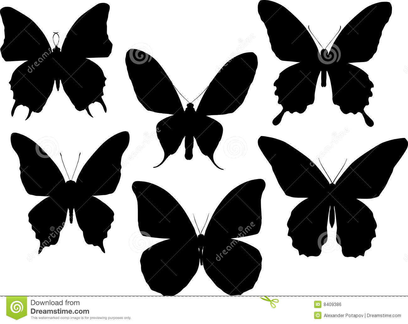 Six Tropical Butterfly Silhouettes Stock Illustration