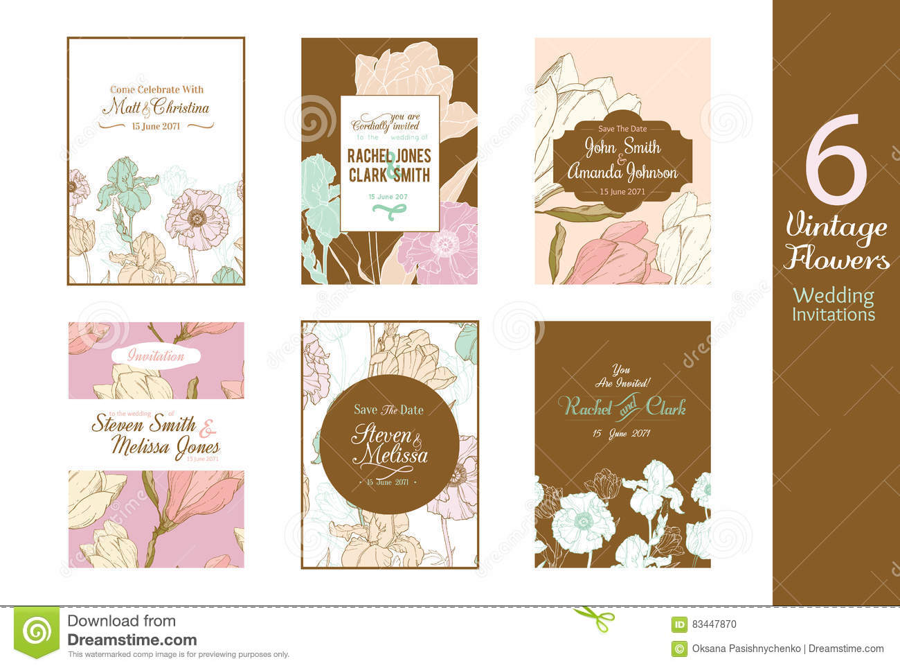 Six Unique Vintage Floral Wedding Invitations, Save The Date Cards ...