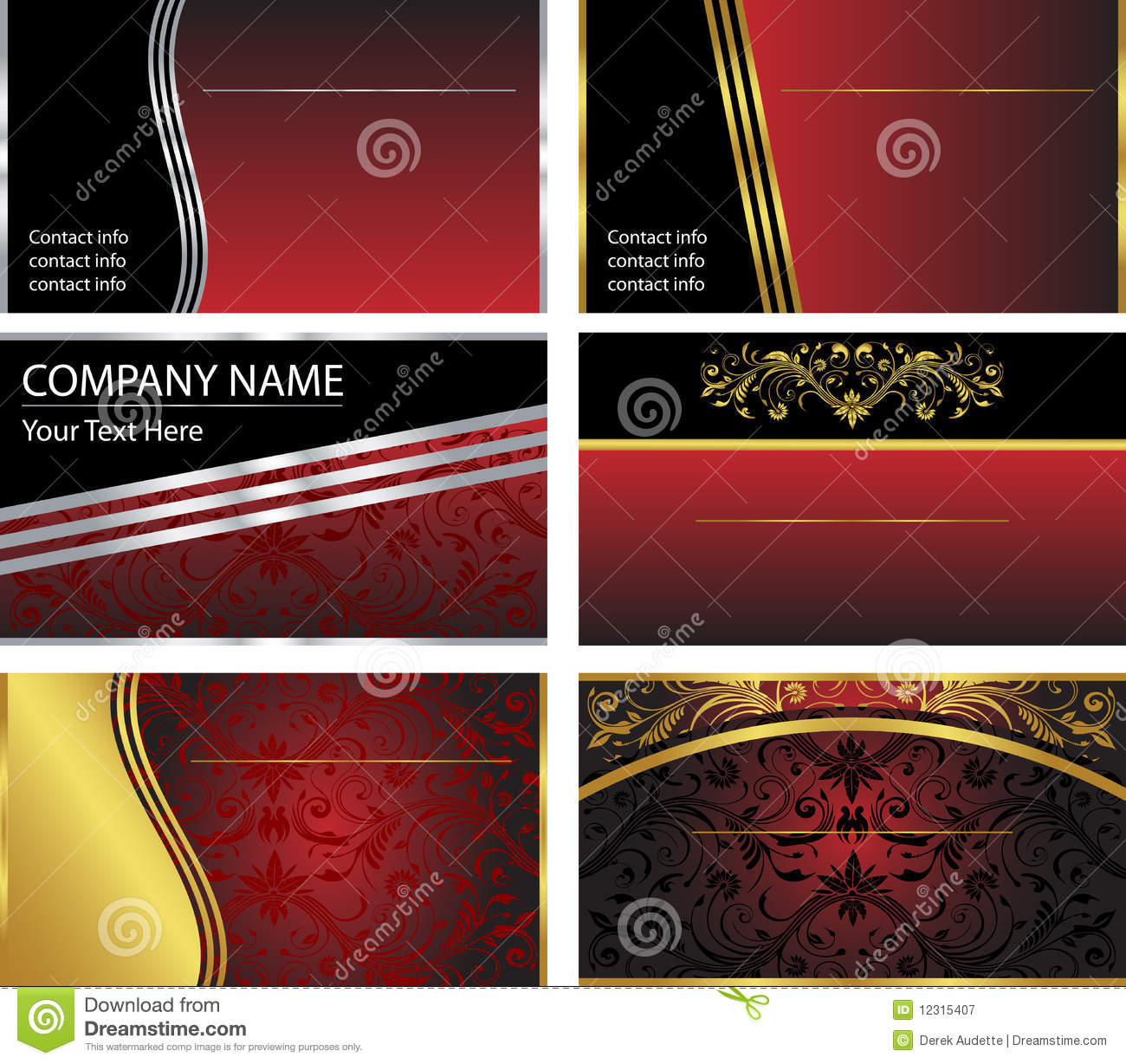 Six Vector Business Card Templates Stock Vector - Illustration of ...