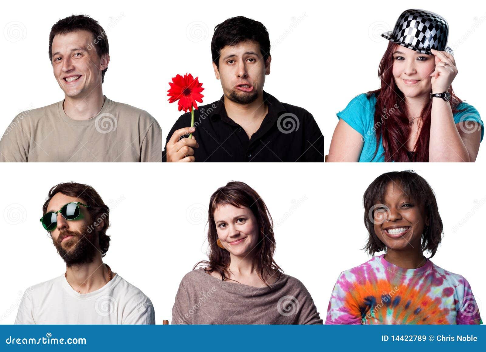 Six visages heureux