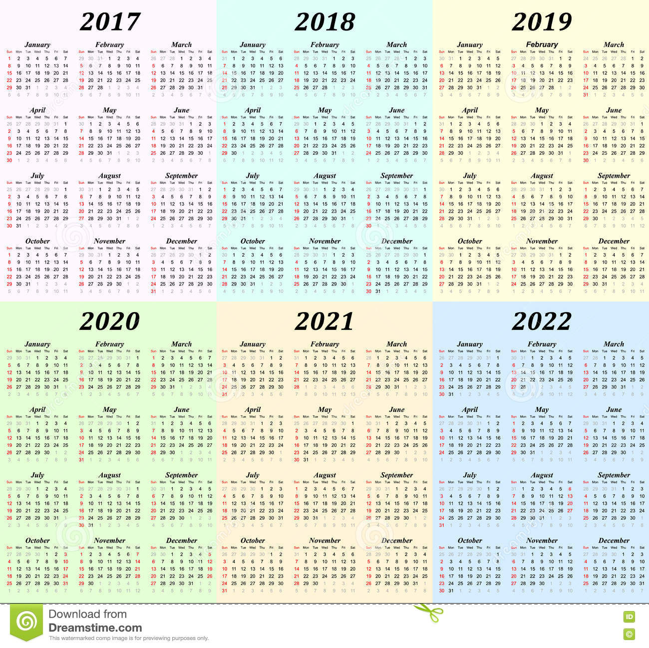six year calendar 2017 2018 2019 2020 2021 and 2022