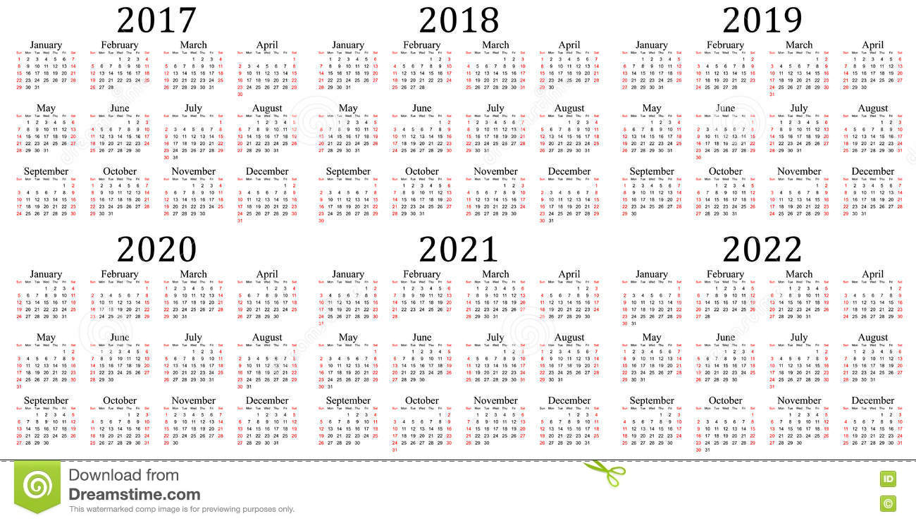 Date Calendar 2020 Six Year Calendar   2017, 2018, 2019, 2020, 2021 And 2022 Stock