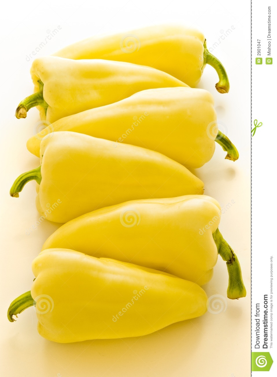Six Yellow Peppers Royalty Free Stock Photography - Image: 2901047