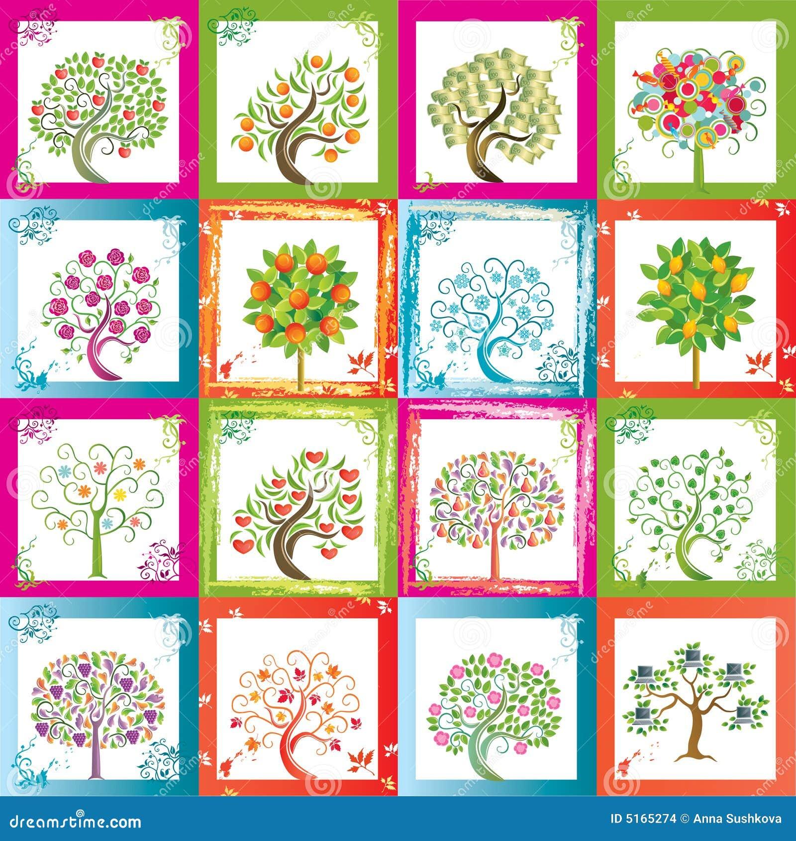 Sixteen trees