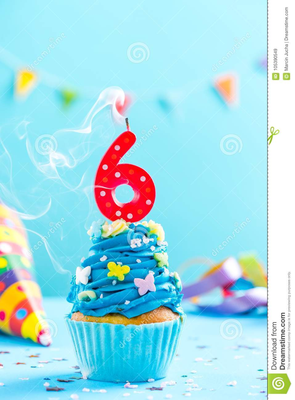 Sixth 6th Birthday Cupcake With Candle Blow OutCard Mockup