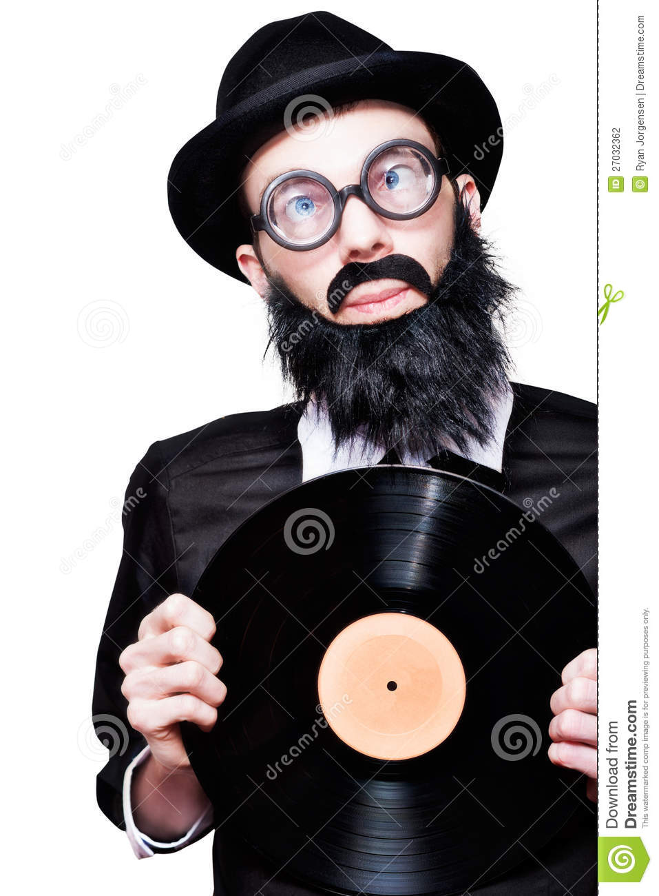 Sixties Retro Rock Man Holding Music Record Vinyl Stock