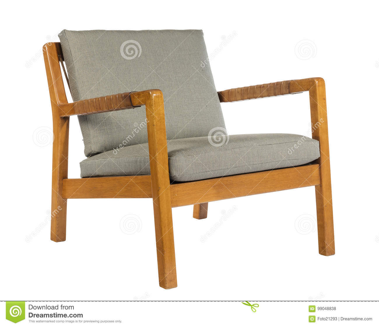 Sixties Style Chair Square Design With Upholstery Stock Photo