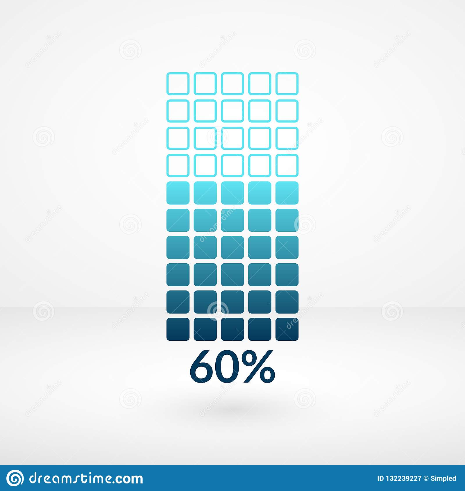 Sixty percent square chart isolated symbol. Percentage vector icon for finance, business