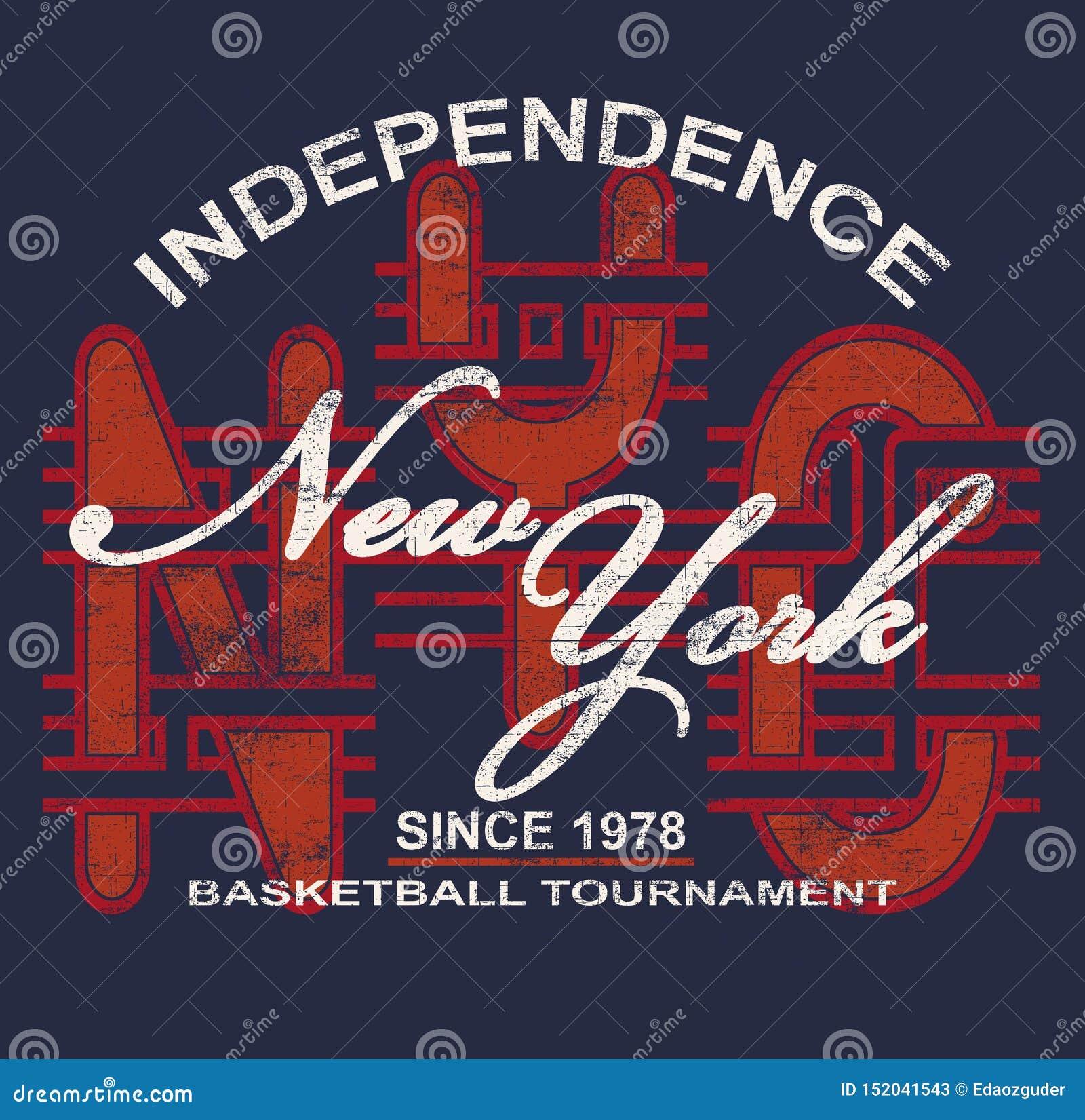 'SJÄLVSTÄNDIGHET, NEW YORK 'typografi, utslagsplatsskjortautskrift