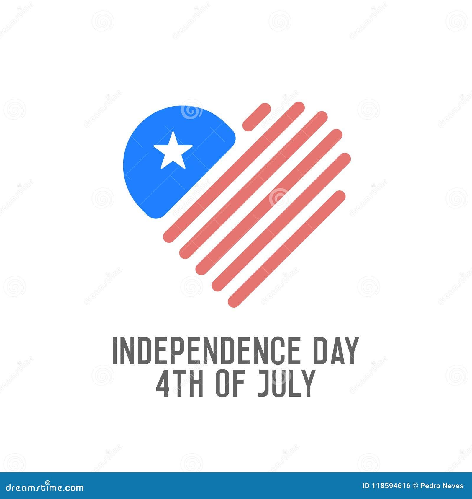 Självständighetsdagen 4th av Juli Vektordesignbaner för USA ferie Amerikanska flaggan med symbolen för hjärtaformlogo