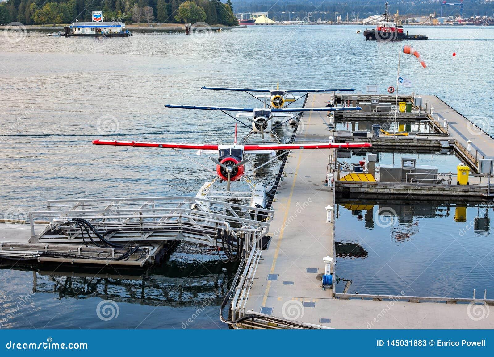 Sjöflygplan/svävar nivåpontonnivåer som anslutas i kolhamnen, i stadens centrum Vancouver, British Columbia