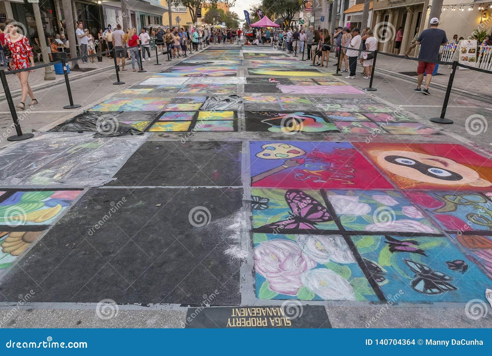 Sjövärde, Florida, USA Fab 23-24, 25Th årliga gata som 2019 målar festival