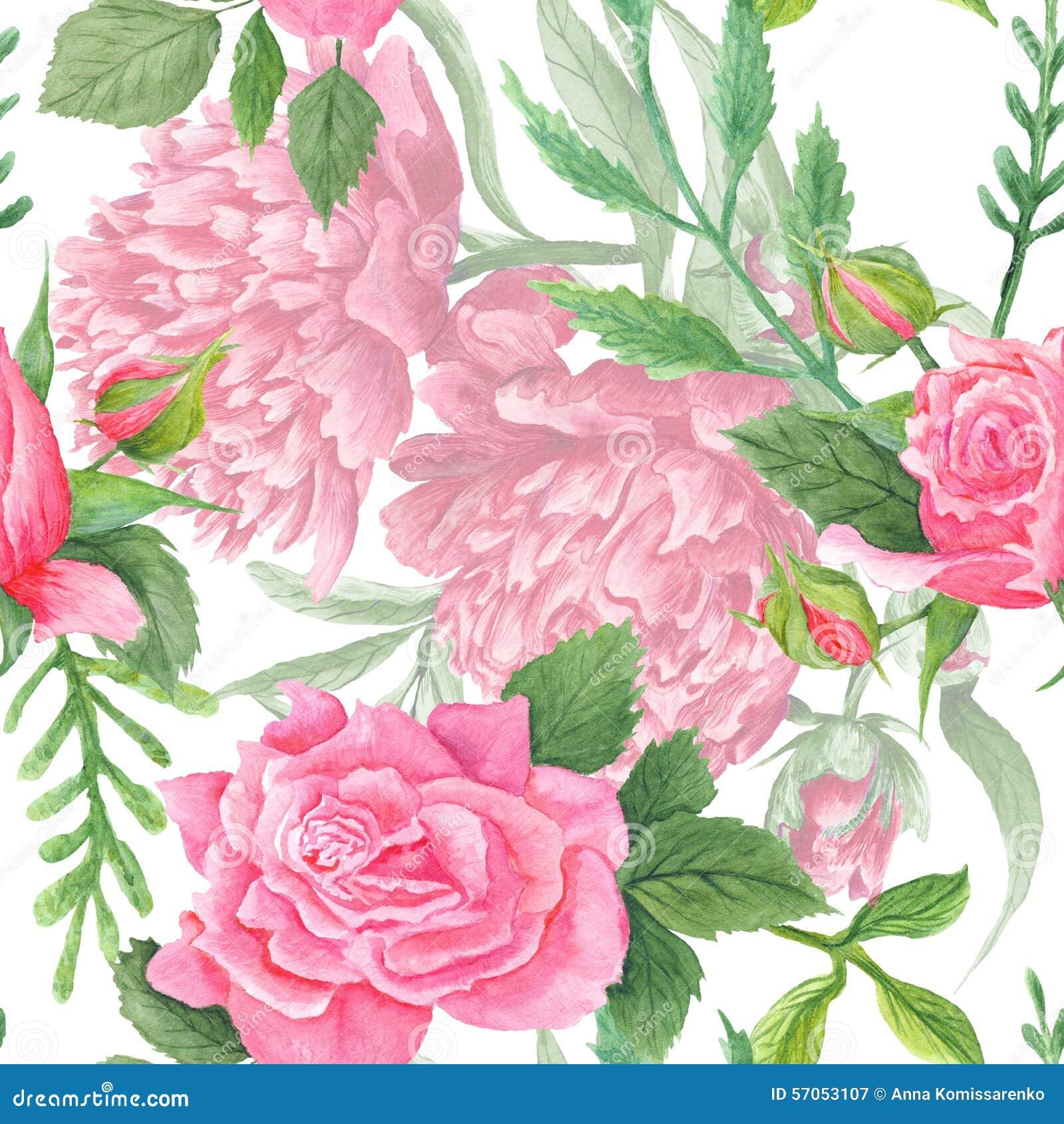 Sjofele Elegante Waterverfpioen en Rose Pattern
