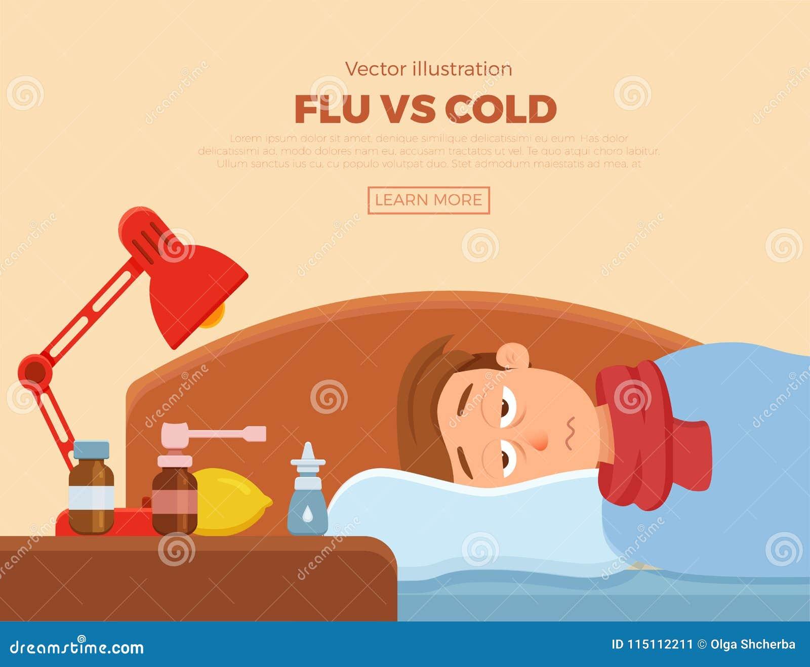 Sjuk Grabb I Säng Med Tecknen Av Förkylning, Influensa