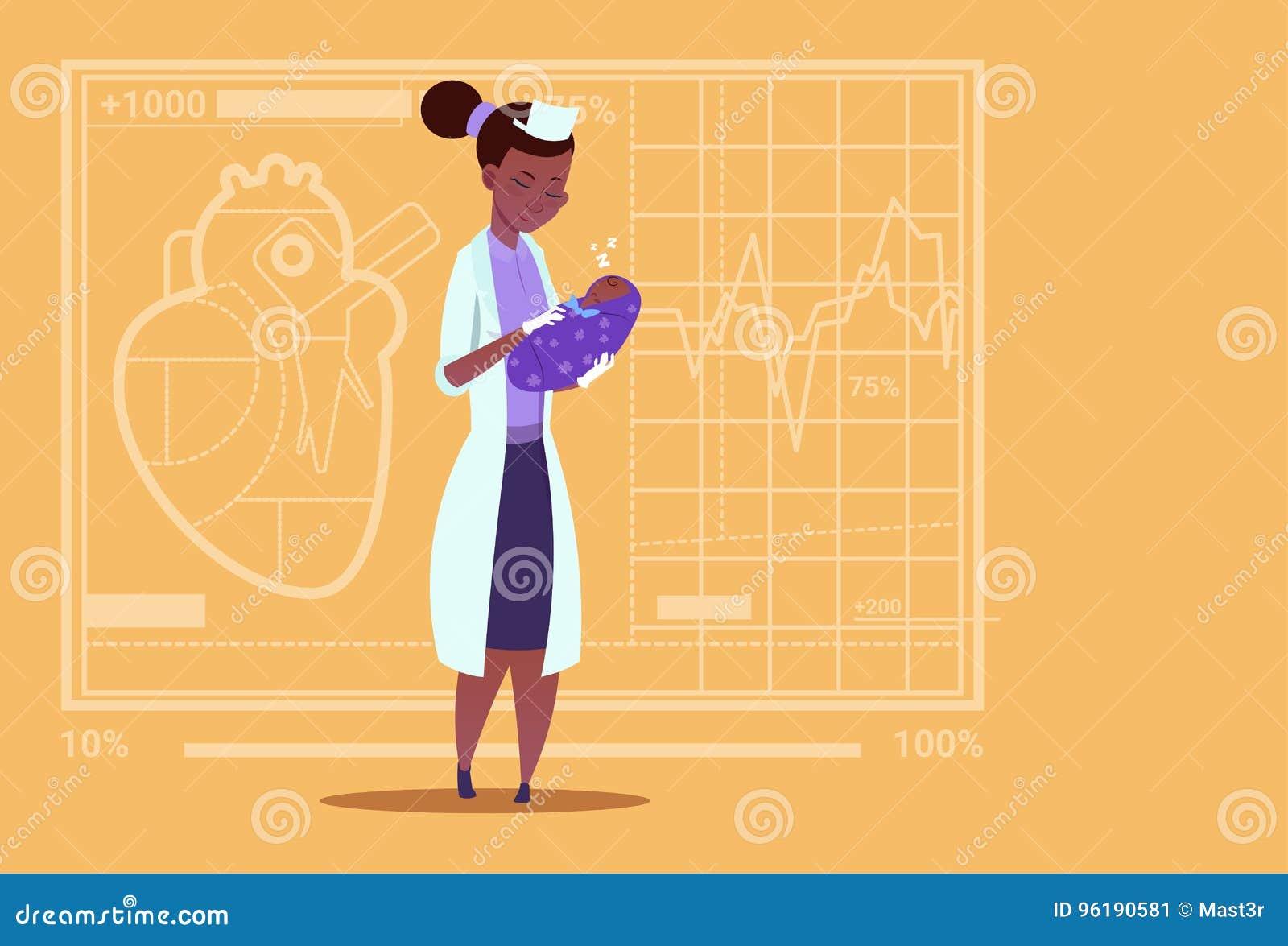 Sjukhus för arbetare för afrikansk amerikan för kliniker för moderskap för kvinnlig pojke för doktor Hold Newborn Baby medicinskt