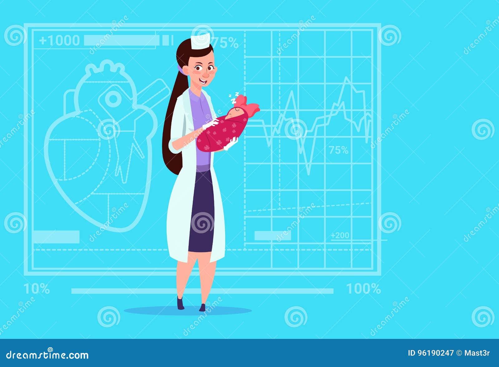 Sjukhus för arbetare för kliniker för moderskap för kvinnlig flicka för doktor Hold Newborn Baby medicinskt