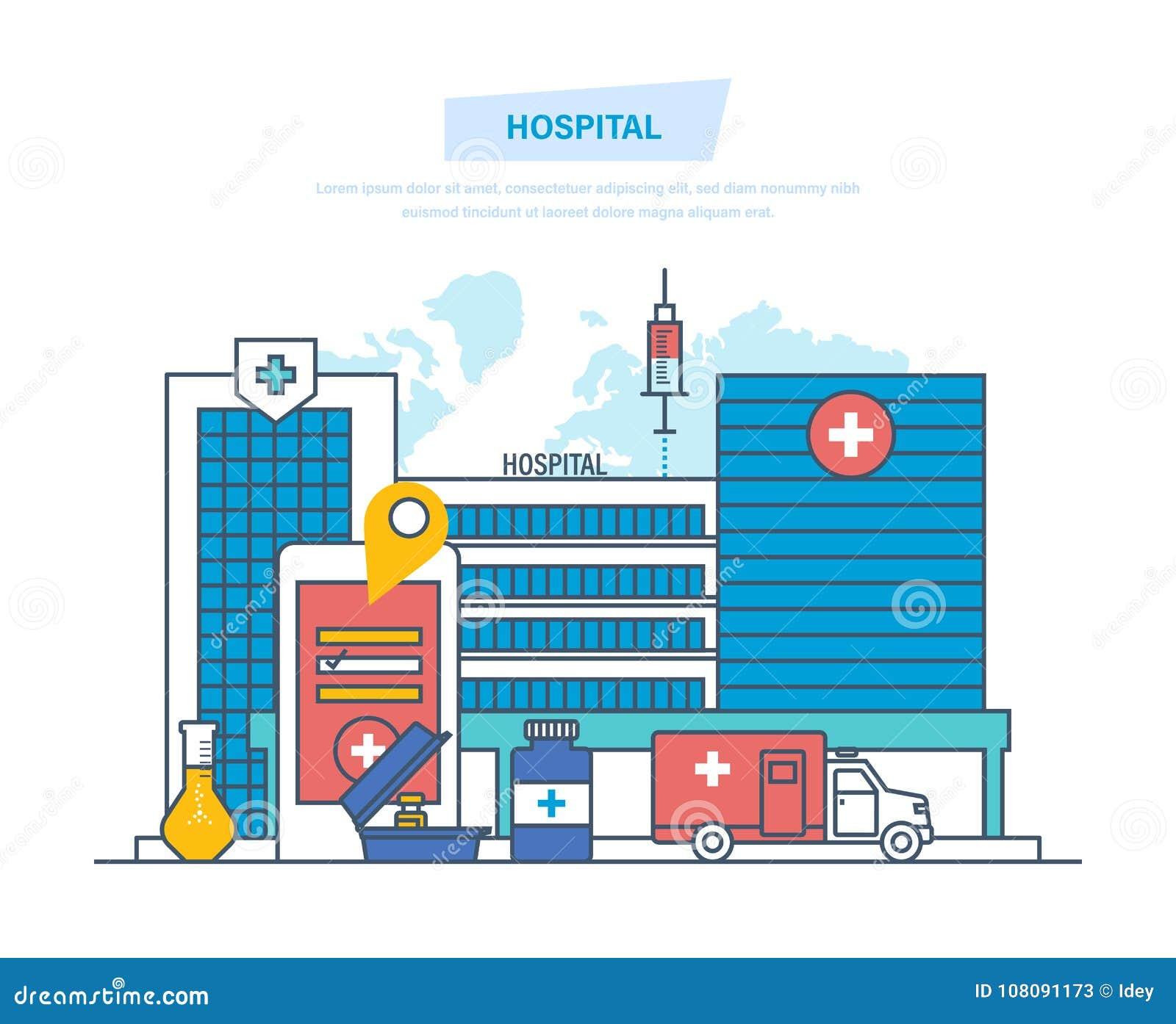 Sjukhusbyggnad, vårdsystem, medicinsk lätthet, säkerhet, första hjälpen, ambulans