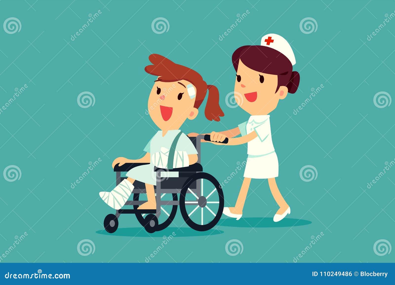Sjuksköterska som skjuter den sårade kvinnan på rullstolen