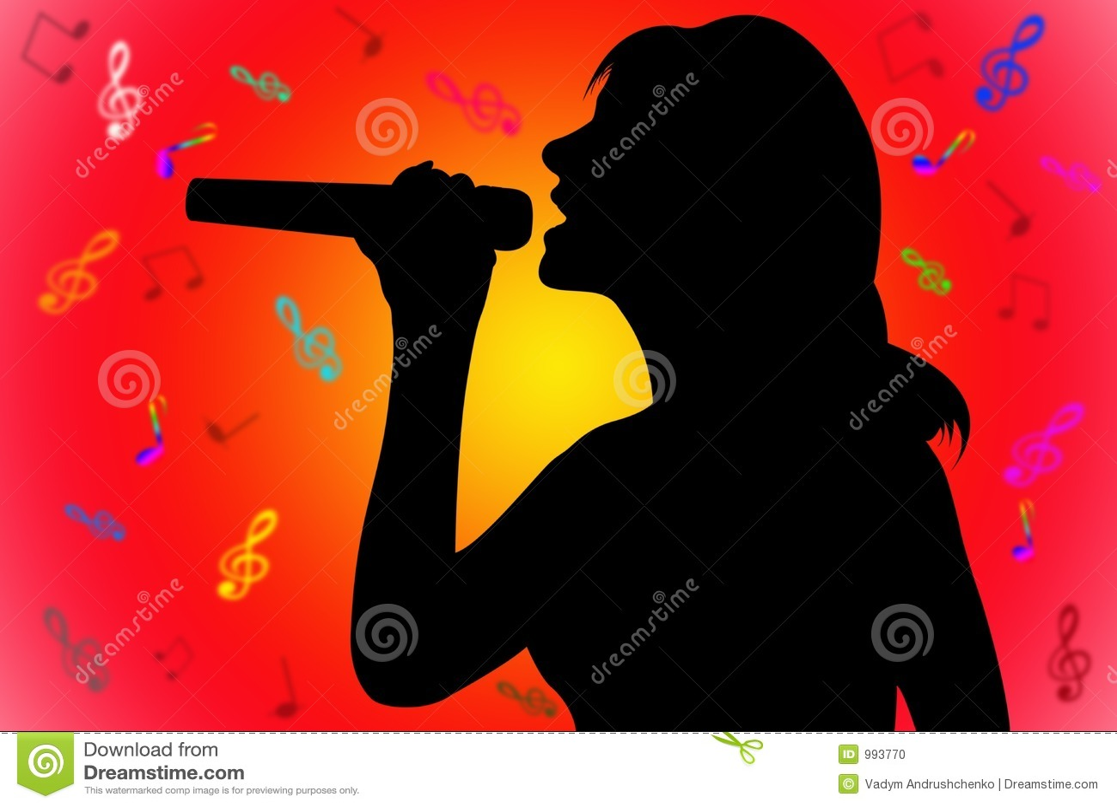 Sjungande kvinna för silhouette