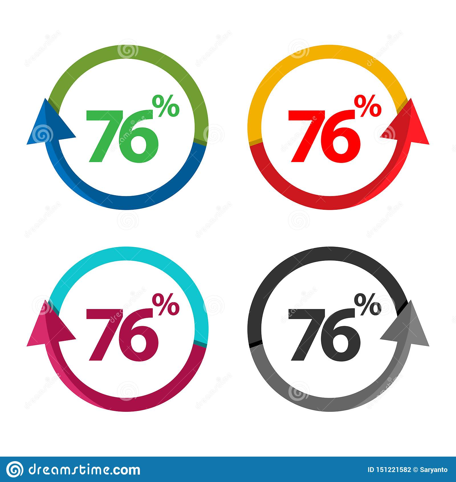 Sjuttiosex procent upp, uppåtriktad pilillustration-vektor