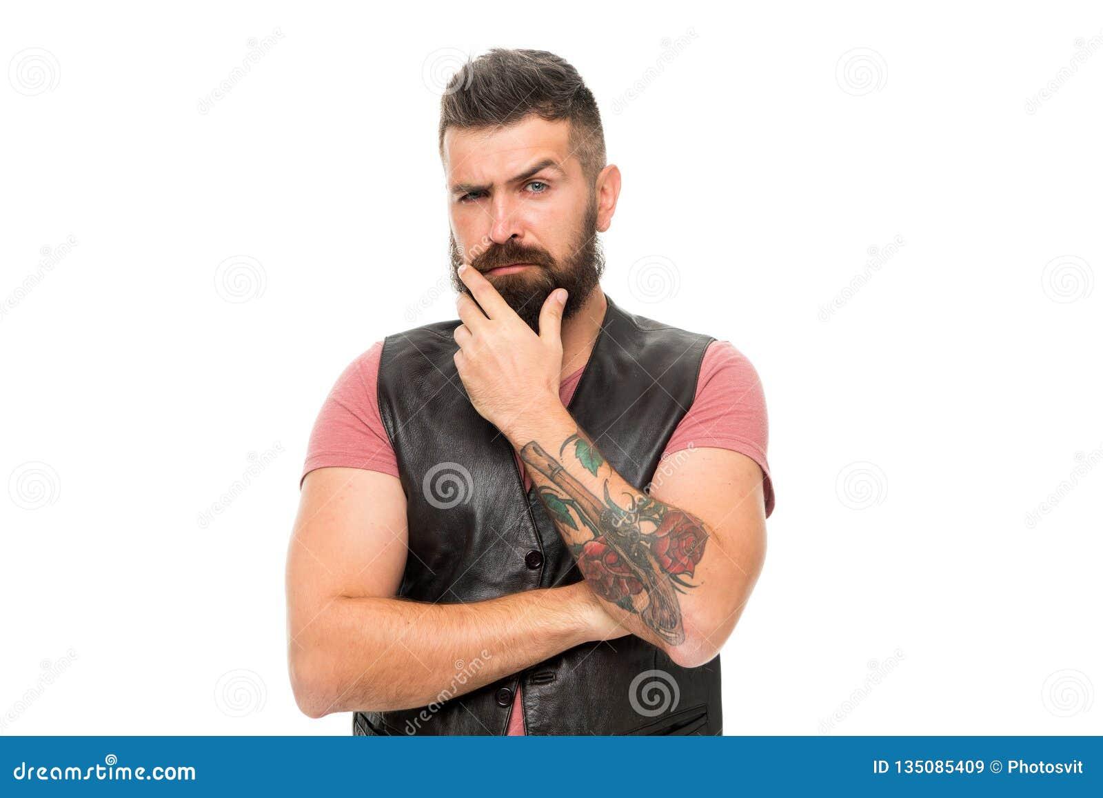Skäggig man Hår- och skäggomsorg Manlig barberareomsorg Allvarlig manhipster isolerade den ansikts- injektionen för den härliga B