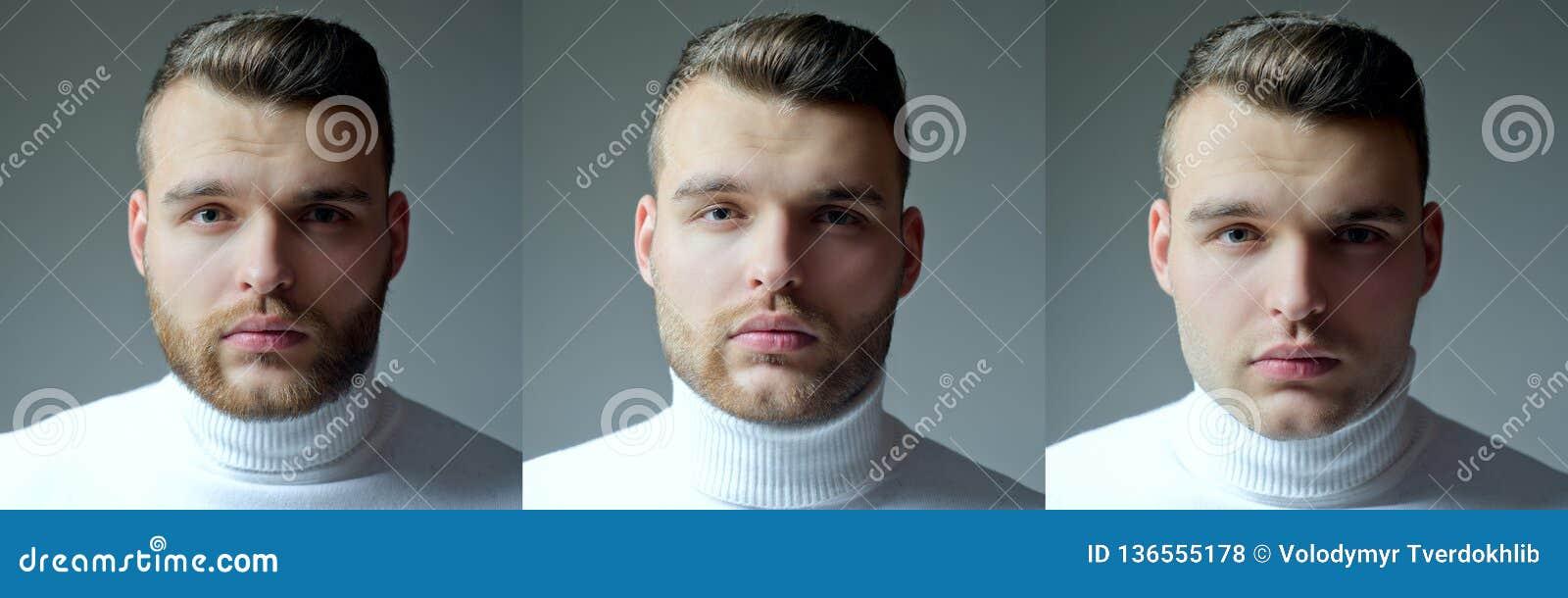 Skäggig manuppsättning Långt skägg Barberaren för stylisten för hår för hårstil shoppar uppsättningen Collage av mans framsidastå