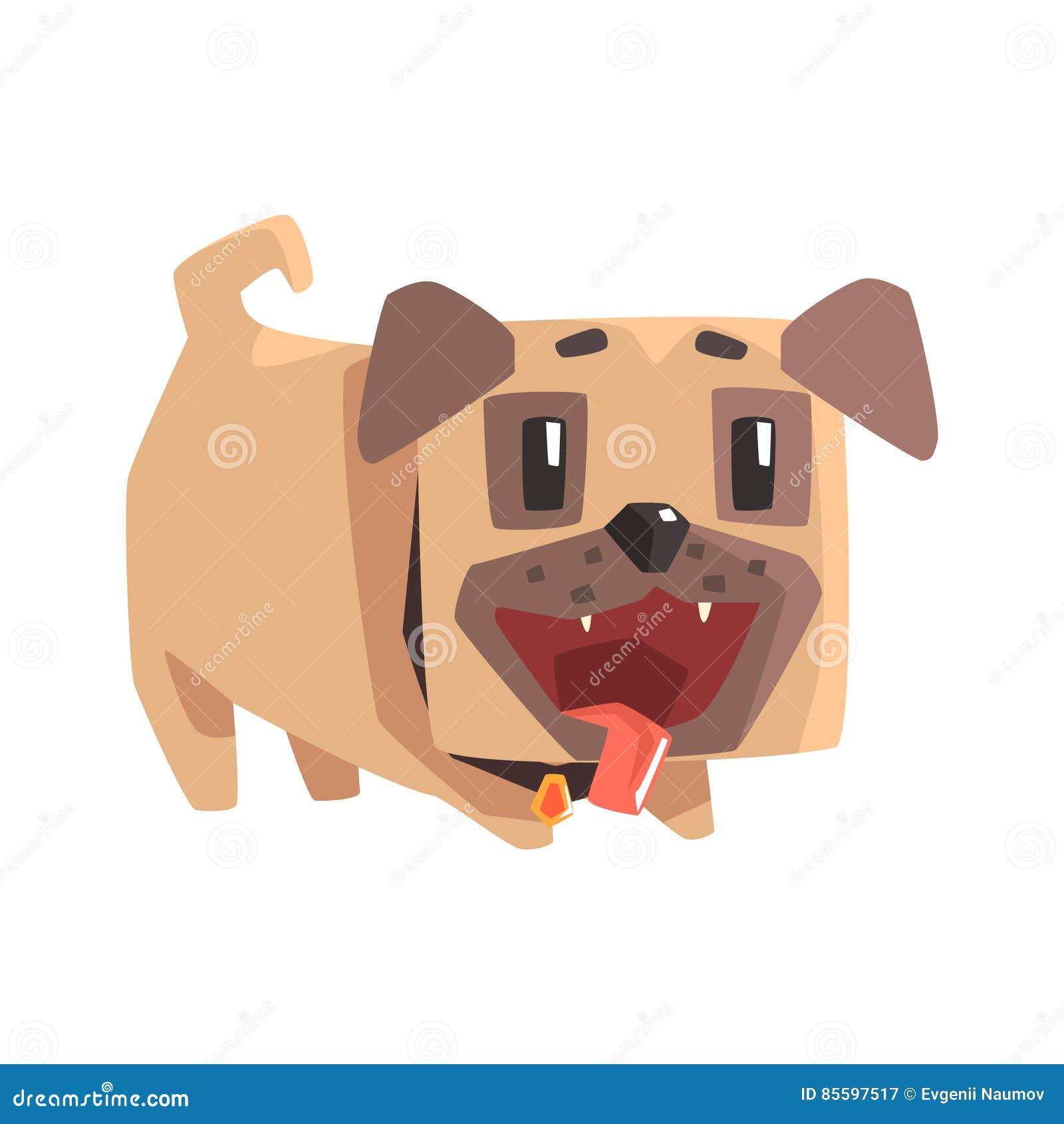 Skämtsam liten älsklings- mopshundvalp med illustrationen för krageEmoji tecknad film