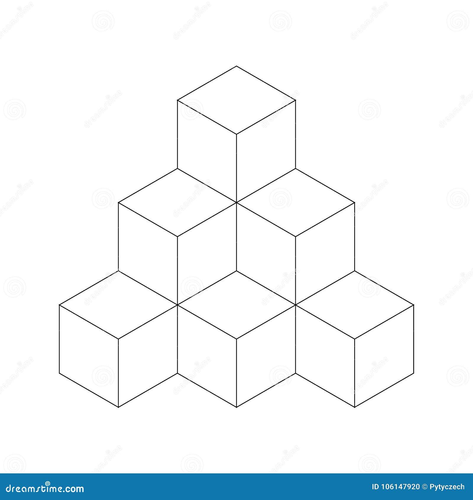 Skära i tärningar pyramiden Plan vektoröversiktsillustration som isoleras på vit bakgrund