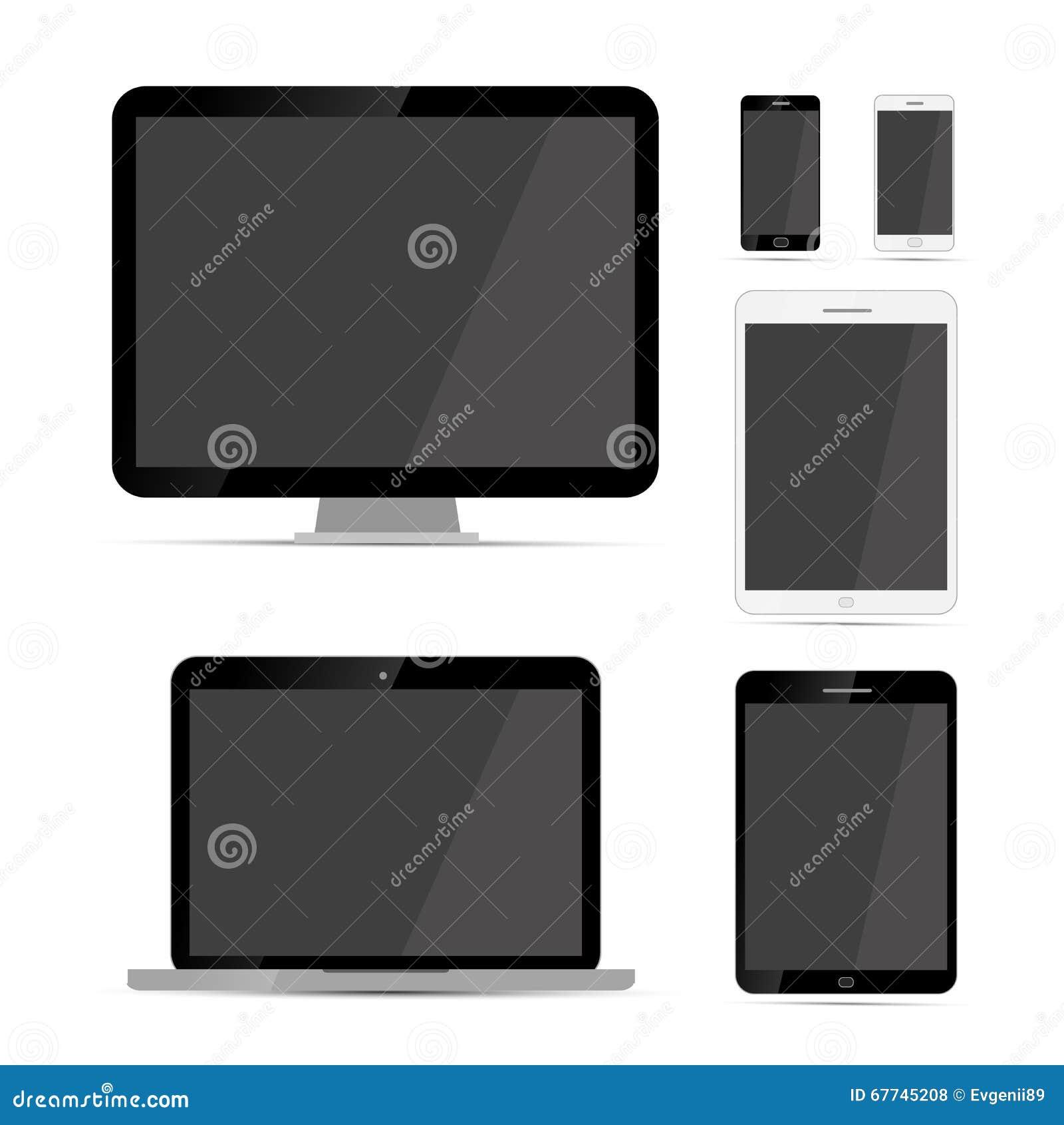 Skärm-, bärbar dator-, minnestavla- och telefonmodellmallar på vit