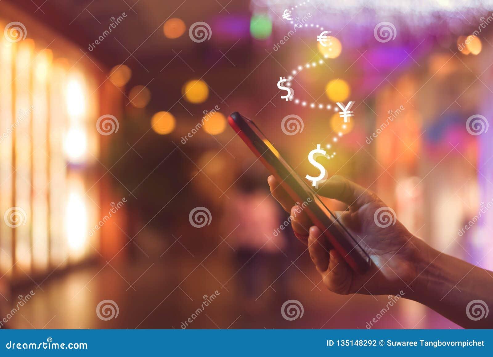 Skärm för symbol för marknadsmaterielgraf av smartphonebakgrund Finansiellt drömliv för affärsteknologifrihet genom att använda i