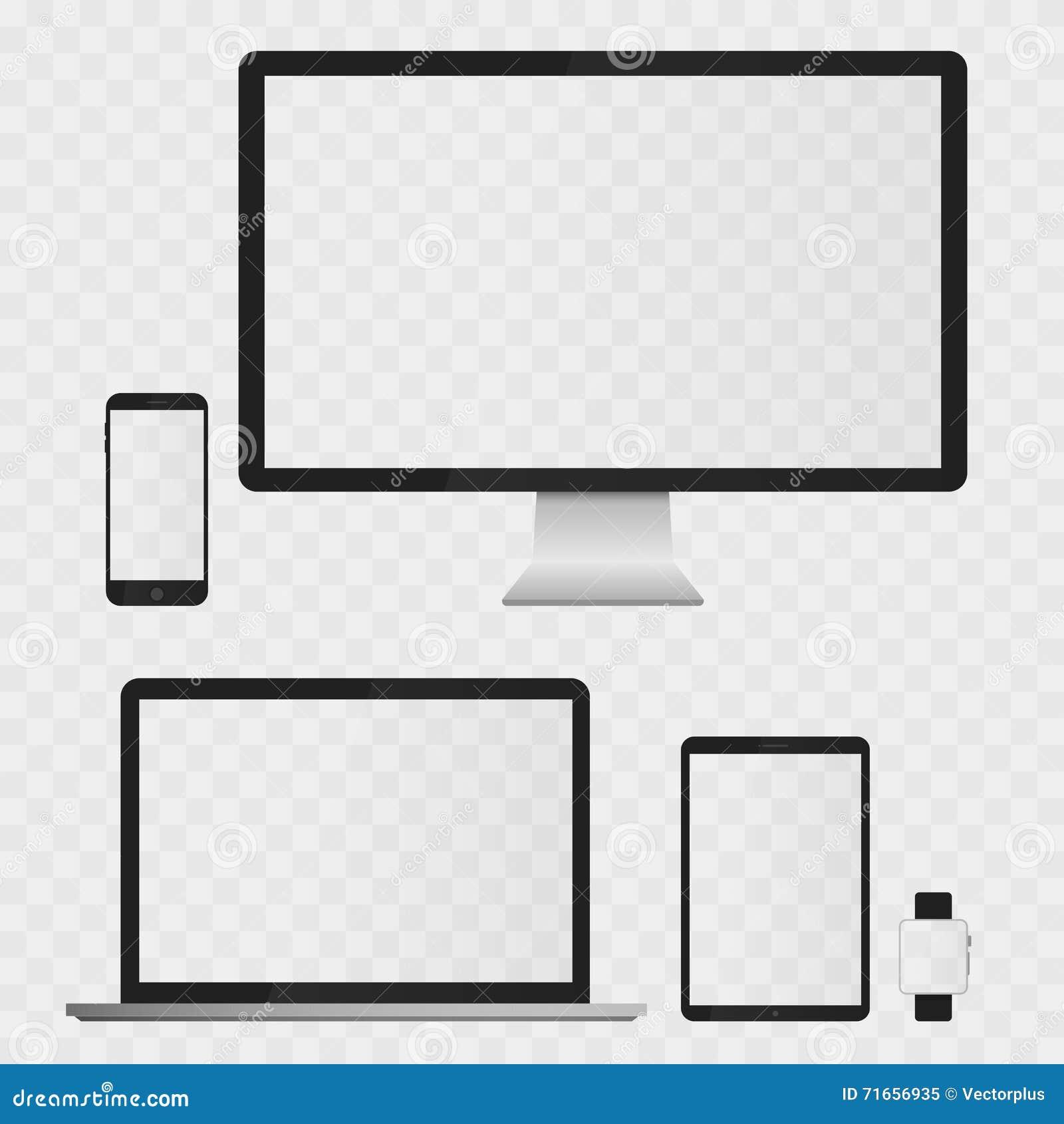Skärmar för elektroniska apparater som isoleras på vit bakgrund