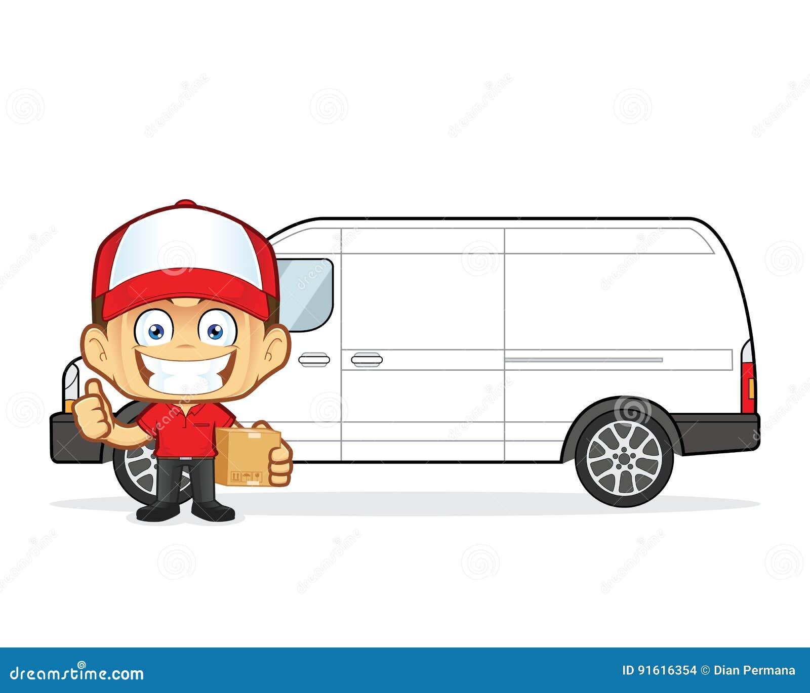 Skåpbil för kurir för leveransman främst med kartonger