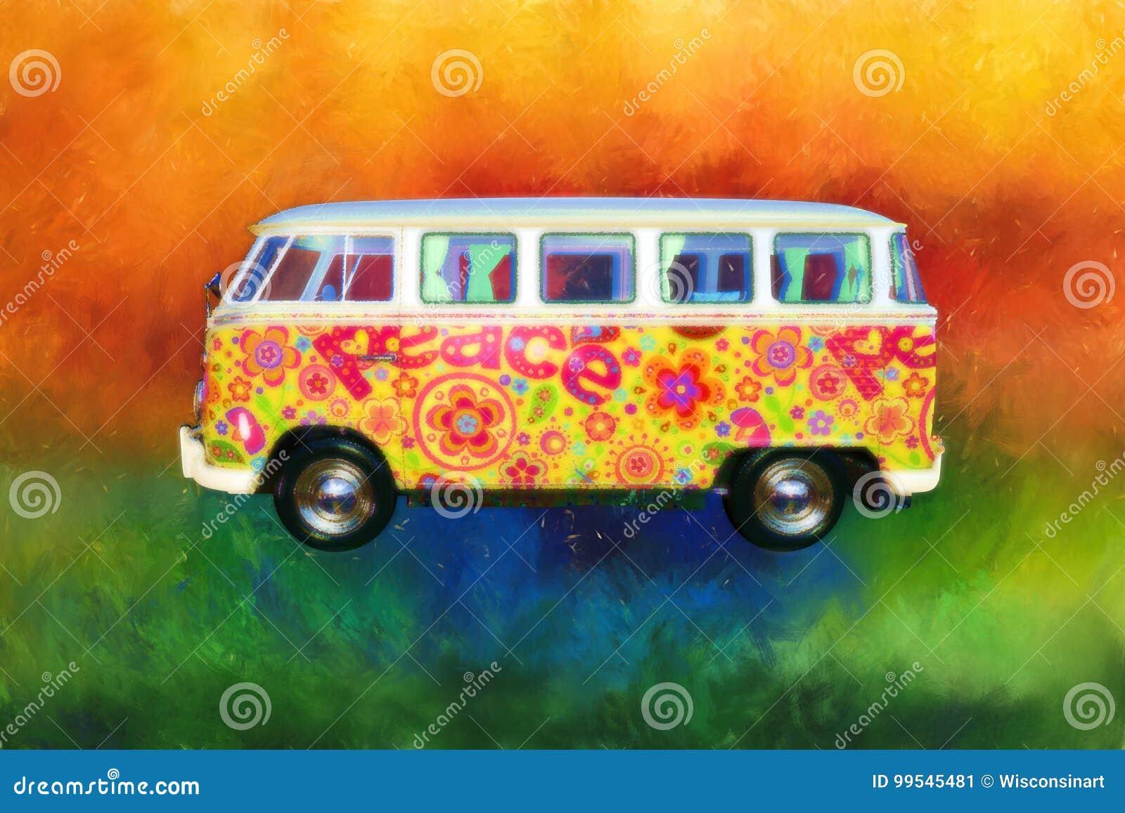 Skåpbil för Psychedlic hippieVW, buss, sextio