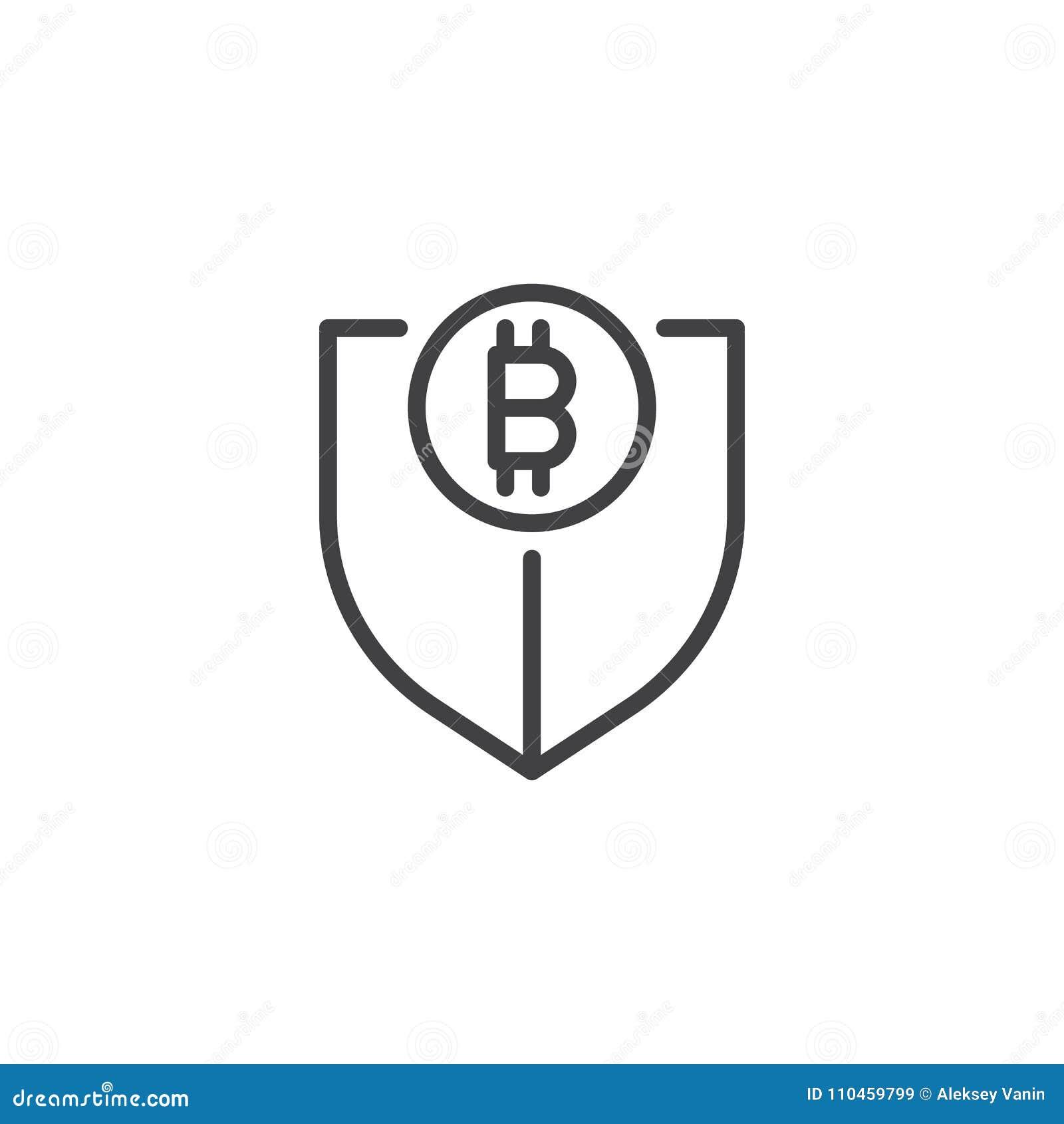 Sköld med bitcoinöversiktssymbolen