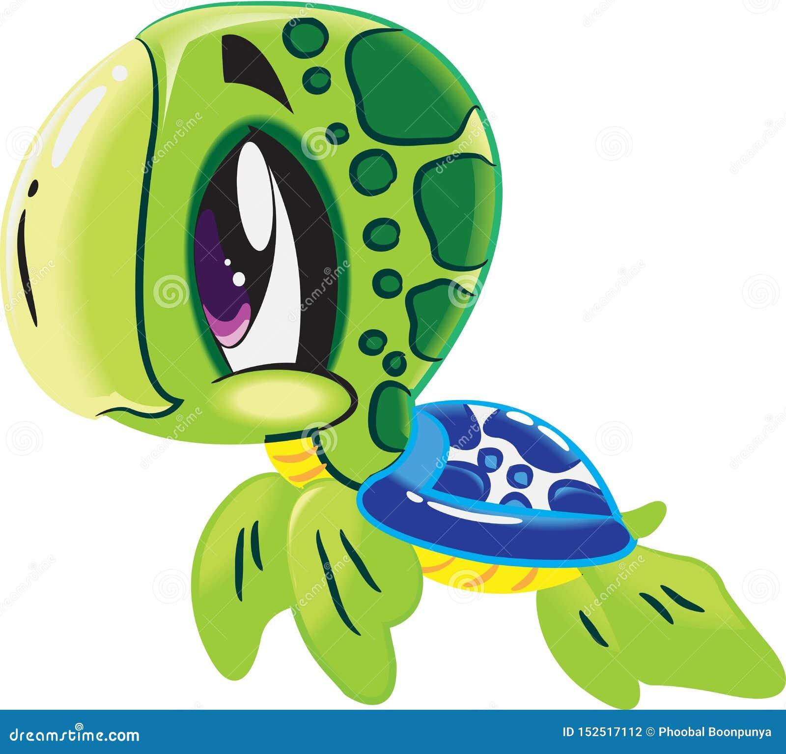 Sköldpadda - gullig samling för tecknad film för havsliv under djura tecken för vatten