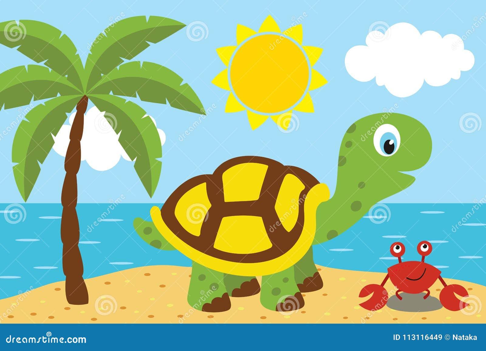 Sköldpadda med cancer på stranden