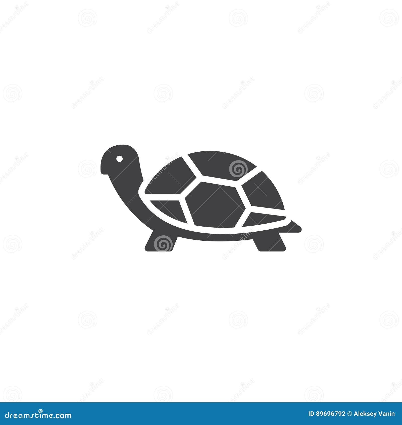 Sköldpaddasymbolsvektor, fyllt plant tecken