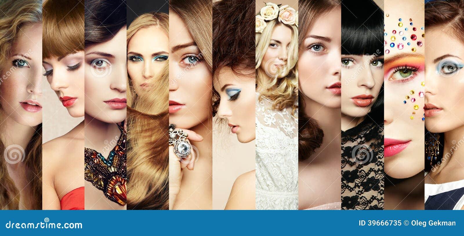 Skönhetcollage. Framsidor av kvinnor