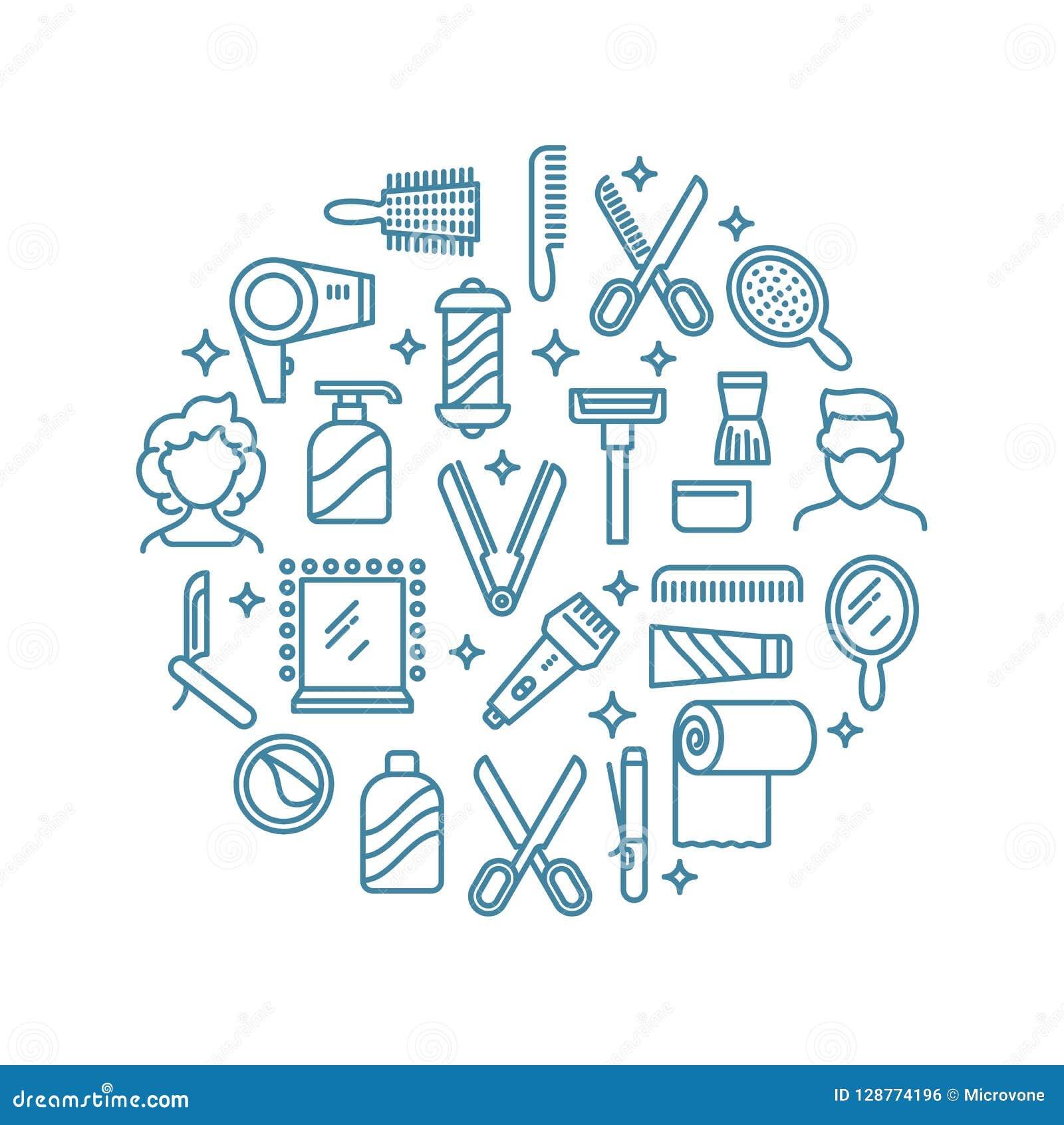Skönhetlinje symboler Skönhetsmedelprodukter, kvinnlig makeup och tillbehören skisserar symboler