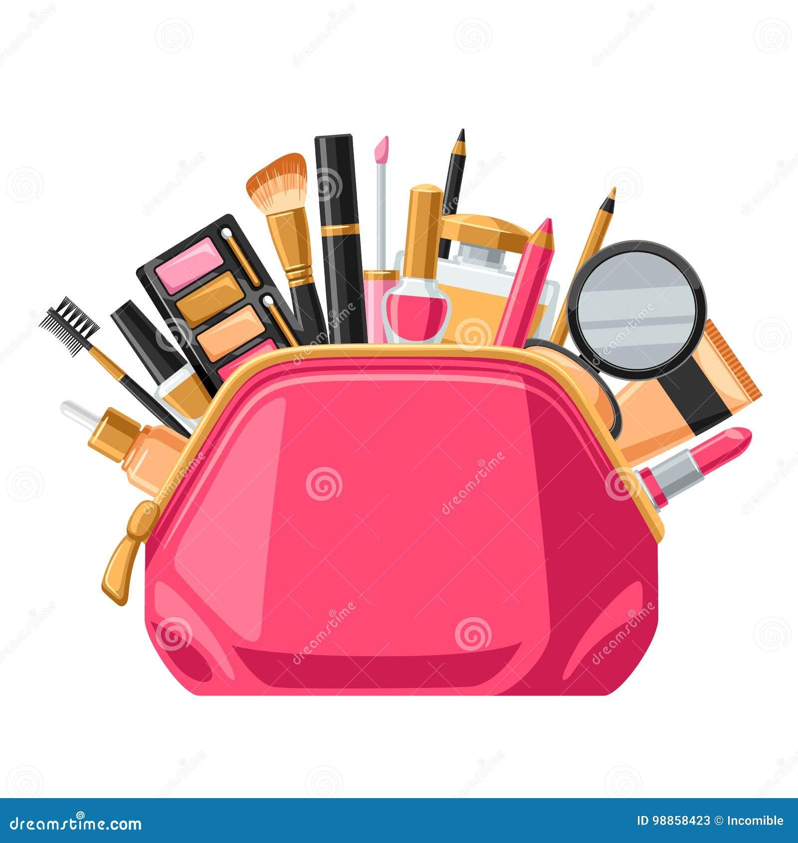 Skönhetsmedel för skincare och makeup i påse Bakgrund för katalog eller advertizing