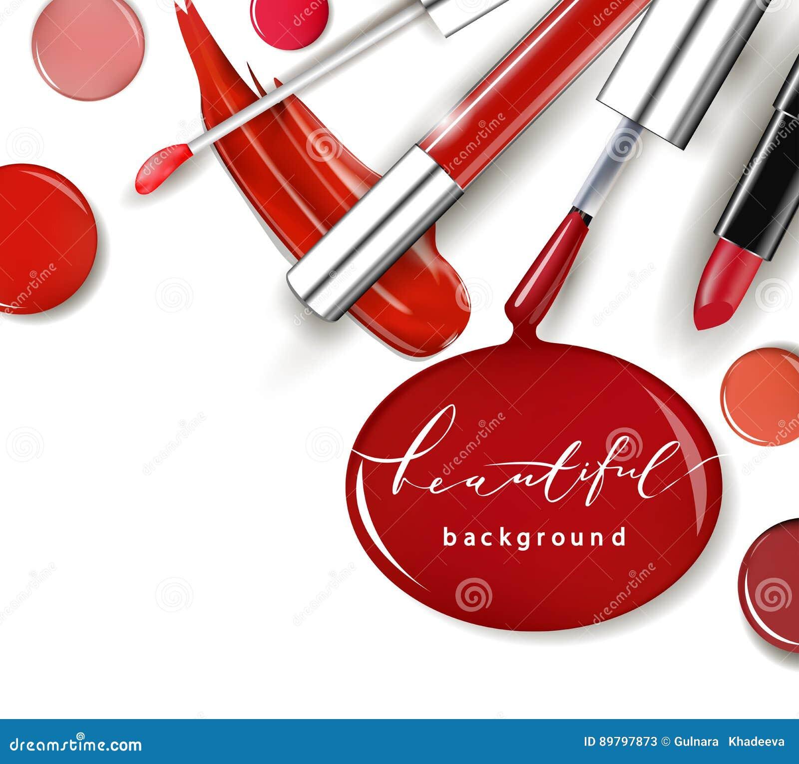 Skönhetsmedel och modebakgrund med sminkkonstnären anmärker: läppstift ip-glans, spikar polermedel Mallvektor