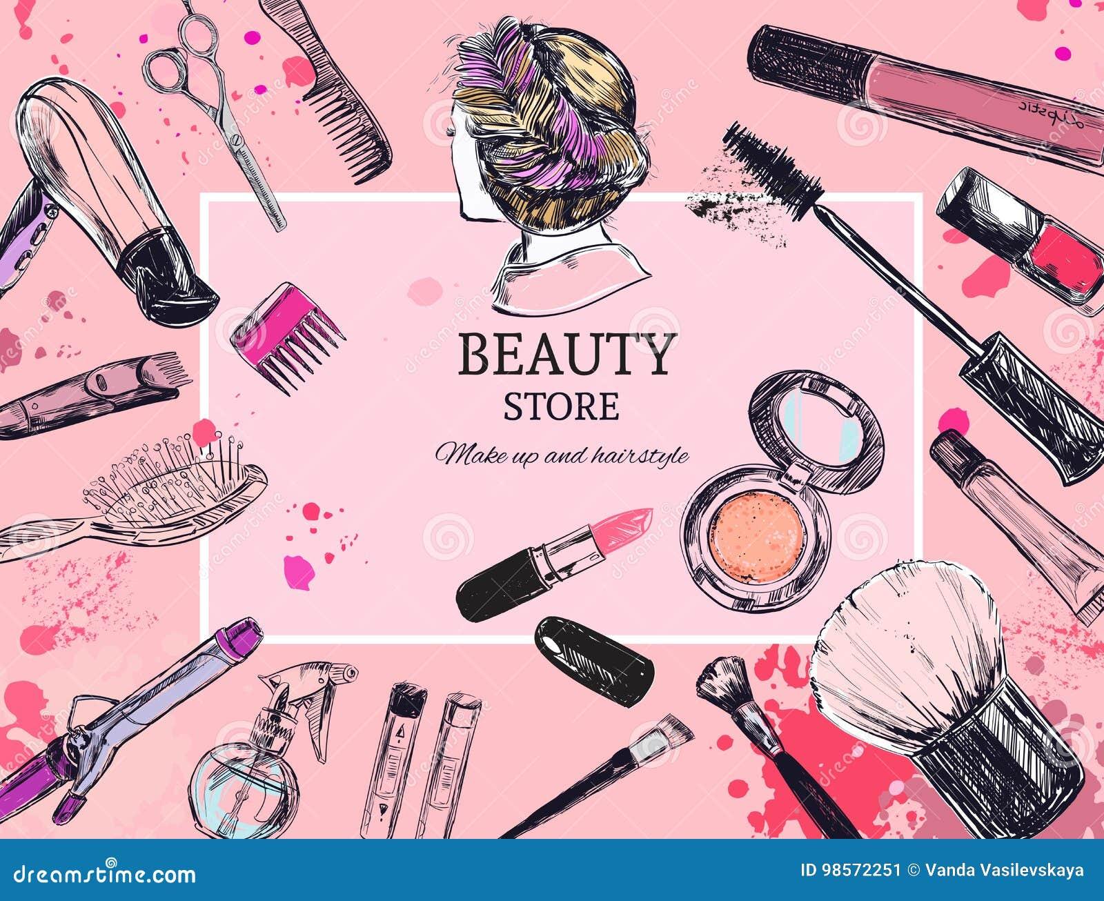 Skönhetsmedel och skönhetvektorbakgrund med sminkkonstnär- och friseringobjekt: läppstift kräm, borste Med stället för din t