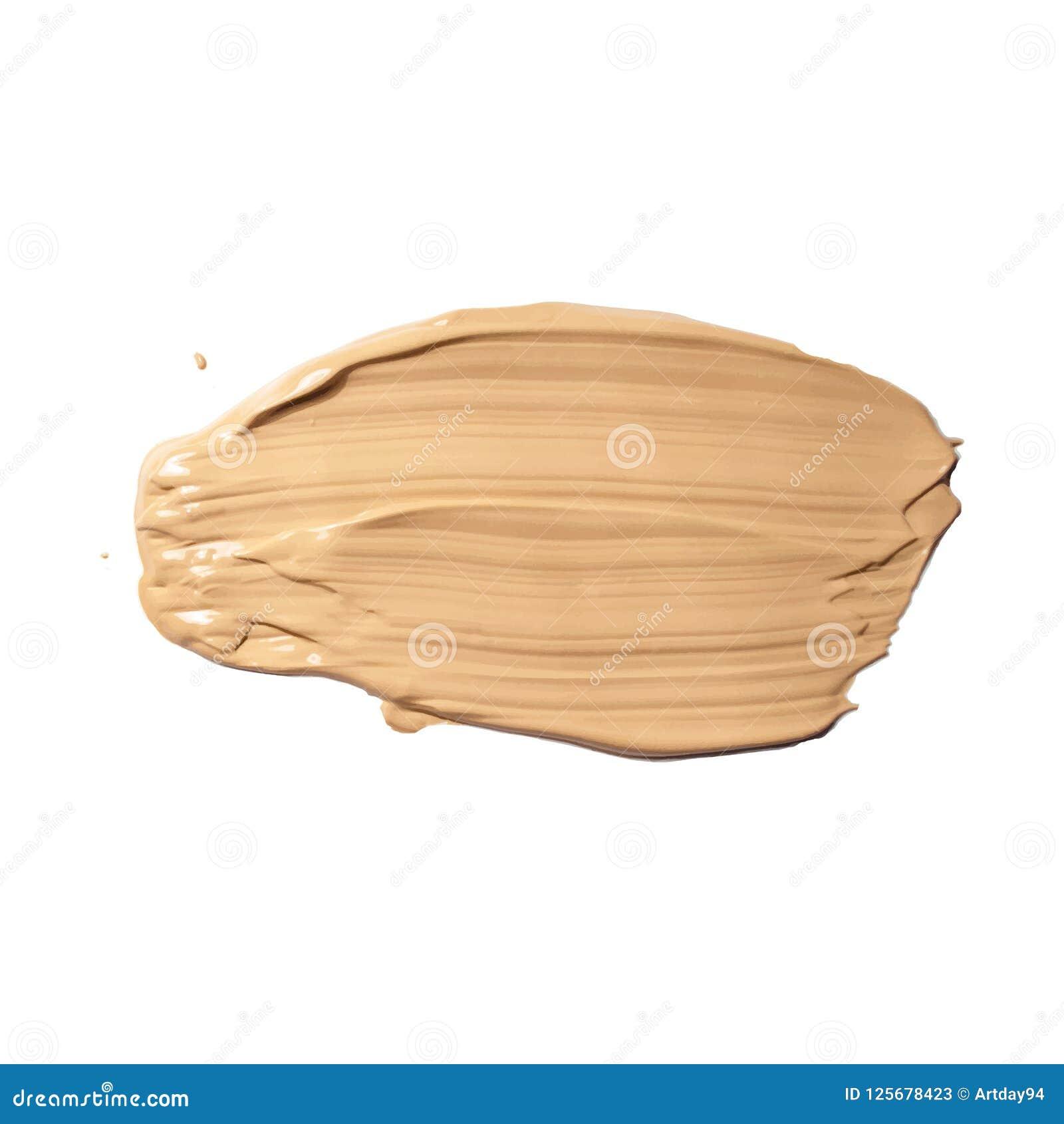 Skönhetsmedelkräm, täckstiftsudd som isoleras på vit Vätskesmetad fundamentsignalkräm, brun slaglängdtextur Makeupvektor